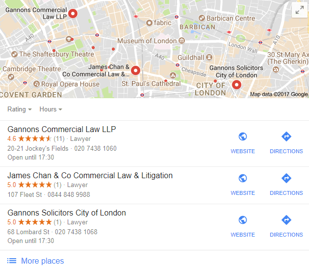 A Google Local Listing Map Pack